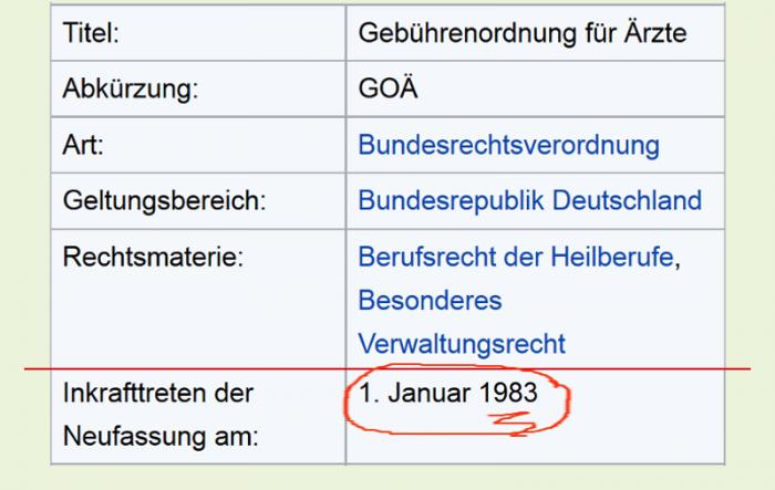 GOÄ: Letzte Neufassung: 1983 in Kraft getreten