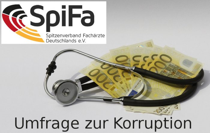 """Stethoskop, 200-Euro-Geldscheine mit SpiFa-Logo und Schriftzug """"Umfrage zur Korruption"""""""