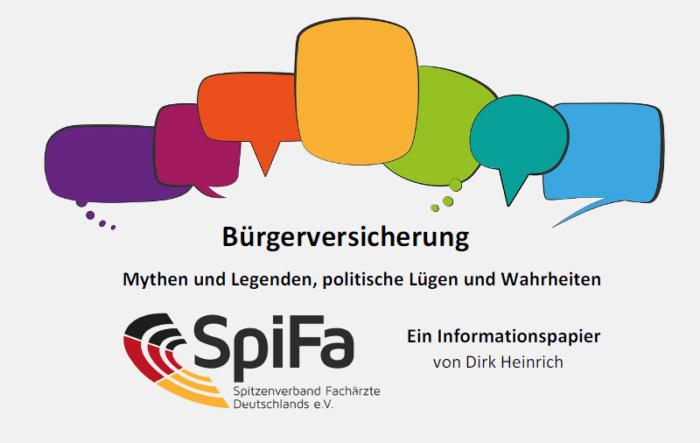 Viele bunte Sprechblasen, darunter Teile des Titels und das Logo der SpiFa