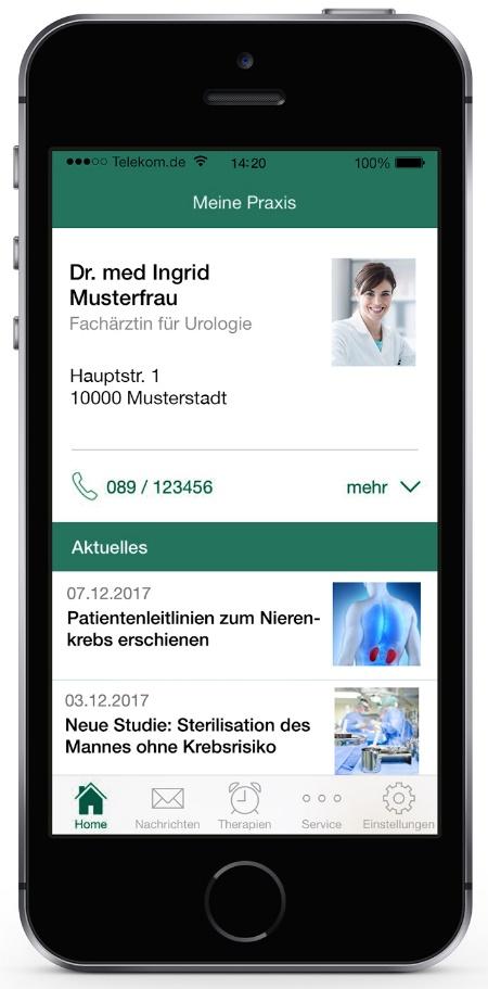 Ansicht von der App auf Patientenseite