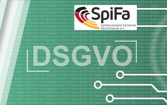 DSGVO-Schriftzug auf Hintergrund von Nullen und Einsen + Logo der SpiFa