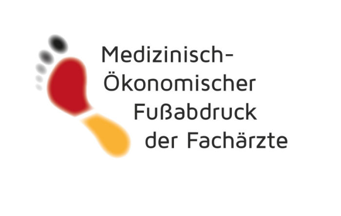 """Schwarz-rot-goldener Fußabdruck & Schriftzug """"Medizinisch-ökonomischer Fussabdruck der Fachärzte"""""""