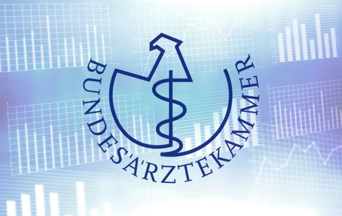 Logo der BÄK. Hell und zurückgesetzt im Hintergrund diverse Diagramme