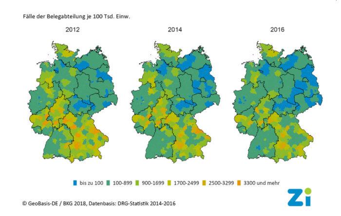 Grafik: Ärzteverteilung in einer Landkarte farblich verdeutlicht. 3 Jahre - 3 Landkarten