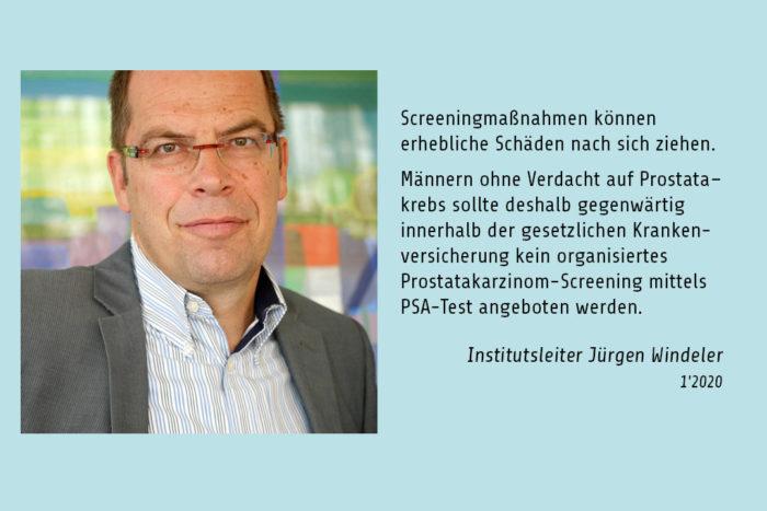 Pressefoto vom IQWIG-Institutsleiter Winderler mit einem Zitat von ihm.