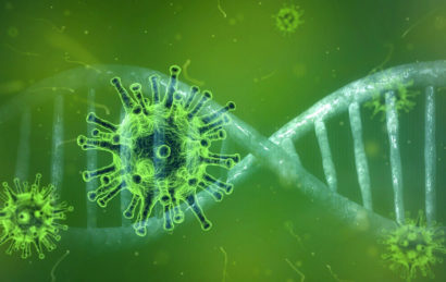 Illustration mit Virus und DNS-Strang